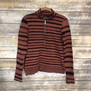 Karen Millen Half Zip Striped Pullover Sweater